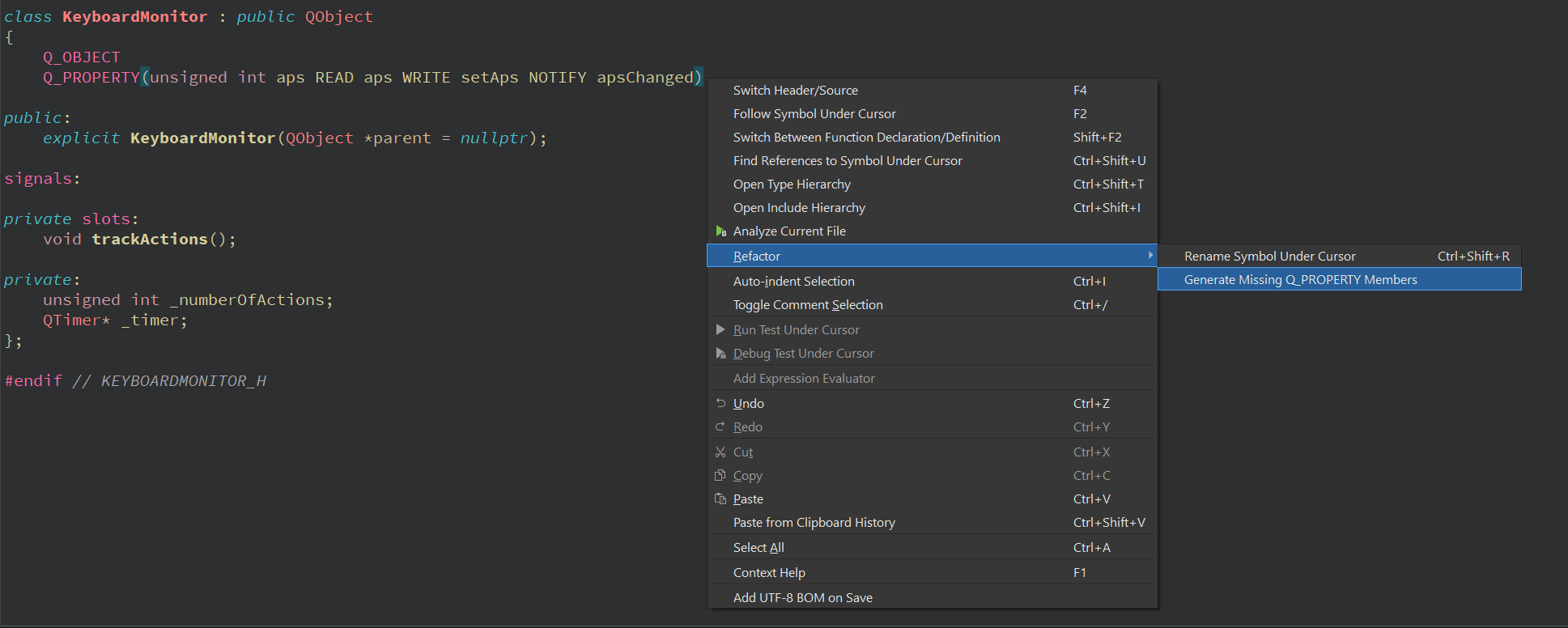 Using Qt Creator refactor option